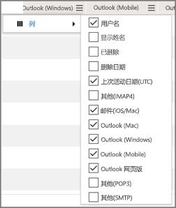 屏幕截图:Office 365 电子邮件应用使用情况报表 - 选择列