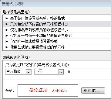 使用红色文本显示小于零的数字的条件格式规则
