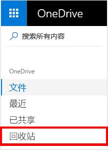 "OneDrive 中的""回收站""选项"