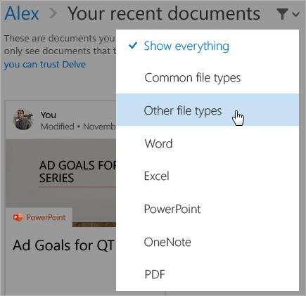 """打开了筛选器列表的""""最新使用的文档""""页面的屏幕截图。"""