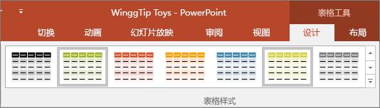 显示 PowerPoint 中的表格样式