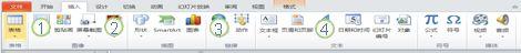 """PowerPoint 2010 功能区中的""""插入""""选项卡。"""