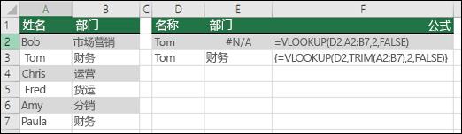 在数组公式中配合使用 VLOOKUP 和 TRIM 可删除前导/尾随空格。单元格 E3 中的公式是 {=VLOOKUP(D2,TRIM(A2:B7),2,FALSE)},需要使用 CTRL+SHIFT+ENTER 输入。