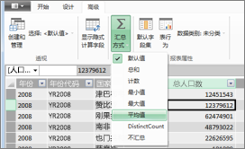 PowerPivot 报表属性:汇总方式