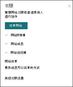 SharePoint 网站权限面板