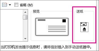 显示信封如何插入打印机的送纸方式示意图