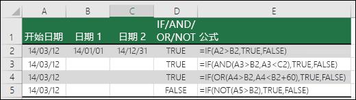将 IF 函数与 AND、OR 和 NOT 函数配合使用计算日期的示例