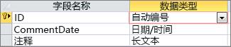 Access 表设计视图中标记为 ID 的 AutoNumber 主键