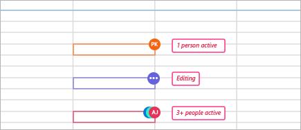 与共同作者一起打开的工作簿中的状态指示器