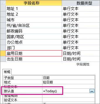 在 Access 表中设置日期/时间字段的默认值。