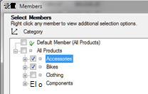 """""""选择成员""""对话框,其中选择了""""附属设施""""和""""自行车"""""""