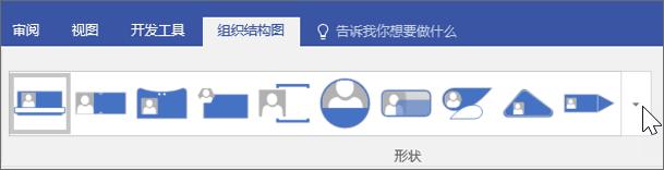 组织结构图工具栏的屏幕截图
