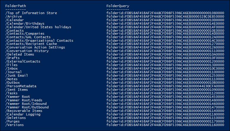 邮箱文件夹和文件夹脚本返回的 Id 的列表的示例