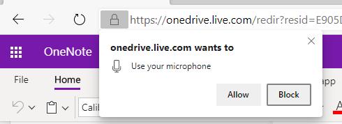 OneNote 听写权限的屏幕截图。