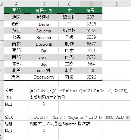 嵌套 COUNT 和 IF 函数的示例