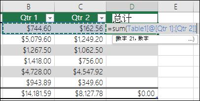 在将记忆式键入以创建计算的列的表格单元格中添加一个公式