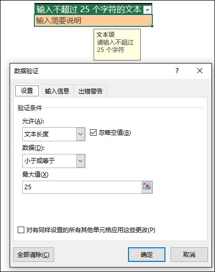 文本长度受限的数据验证示例