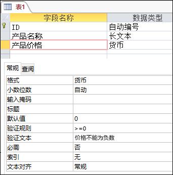 Access 表设计器中显示的字段验证规则