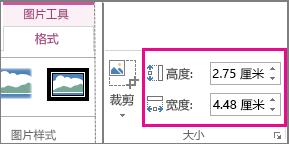 """""""图片工具""""下的""""格式""""选项卡上的""""高度""""和""""宽度""""框"""