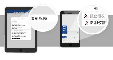平板电脑和手机上带有放大的气泡,其中显示可用于设置 Office 文档访问权限的选项