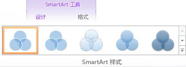"""SmartArt 工具设计""选项卡上的""SmartArt 样式""组"