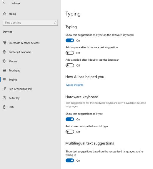 在 Windows 中键入时的文本建议选项
