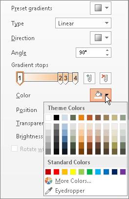 更改每个渐变光圈的颜色