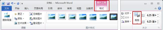 """功能区上的""""图片工具格式""""选项卡上的""""裁剪""""命令"""