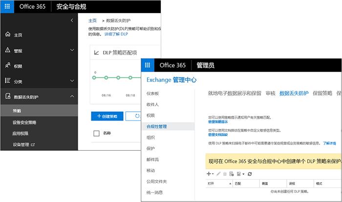 DLP 安全和合规性中心和 Exchange 管理中心中的页面