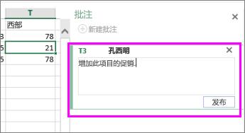 注释窗格中添加或编辑注释的位置