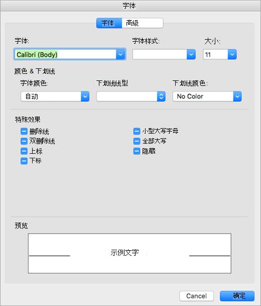 在字体对话框中显示字体选项卡