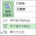 "Project 中的""复制日程表""按钮和菜单"