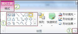PowerPoint 2010 中的功能区的一些其他特征的示例。