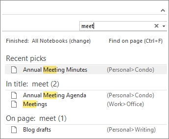 使用搜索功能在 OneNote 中的任意位置查找笔记。
