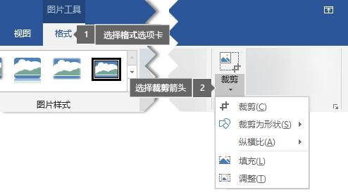 """在""""图片工具""""下的""""格式""""选项卡上找到的""""裁剪""""按钮"""