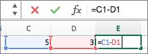 在单元格中输入公式,而该公式也会在编辑栏中显示