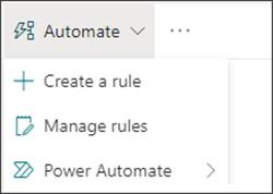 """选中了 Power Automate 的""""自动执行""""菜单的图像"""