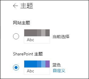 为您的 SharePoint 网站选择新主题