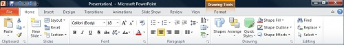 "PowerPoint 2010 中的""开始""选项卡"