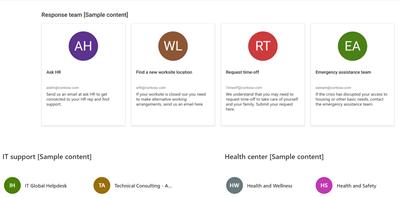 包含四个示例联系人的联系人 Web 部件的图像。