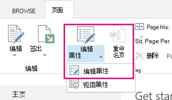 """突出显示 """"编辑属性"""" 的功能区中打开的 """"页面"""" 选项卡"""