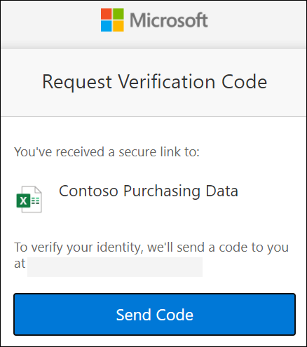 OneDrive 外部共享代码请求窗口