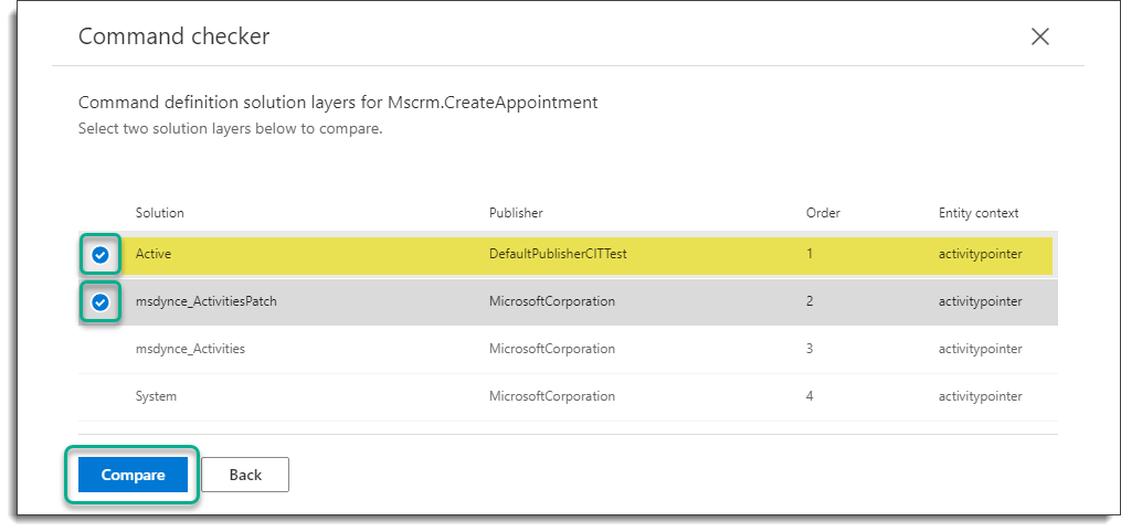 Command Checker - Appointment - Command - Solution Layers