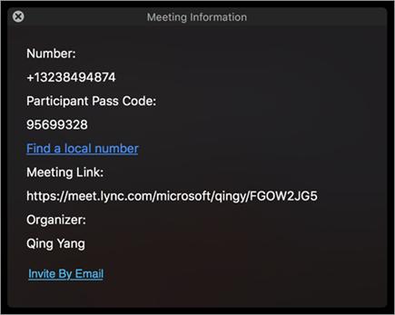 邀请用户加入会议通过电子邮件