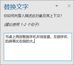 "Outlook for Windows 中的 ""替换文字"" 窗格。"