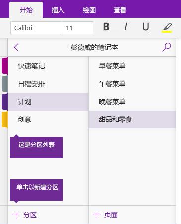 "OneNote 中的""添加分区""按钮的屏幕截图"