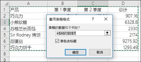"""在""""开始""""选项卡上使用""""套用表格格式""""以自动选择数据区域的示例"""