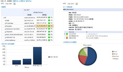 """显示记分卡和相关""""KPI 详细信息""""报表的 PerformancePoint 仪表板"""