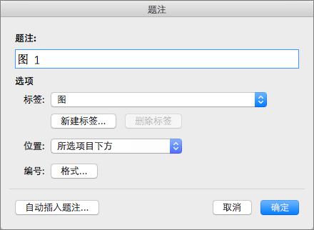 使用题注对话框中创建图表、 表格或其他对象的字幕