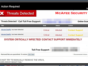 Screen shot of the McAfee support scam.